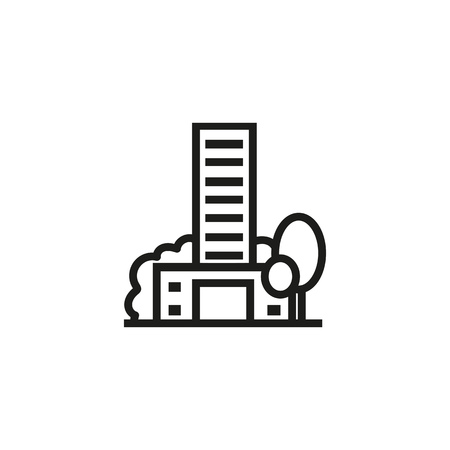 Balanced house line icon. City building apartment house, trees. Urban concept. Vector illustration can be used for topics like ecology, green area, real estate