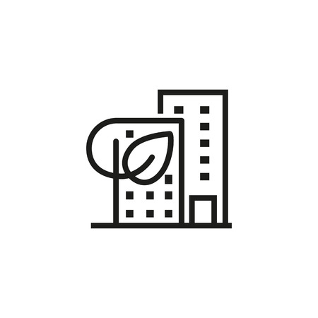 Eco sustainability line icon. City building with leaf. Urban concept. Vector illustration can be used for topics like ecology, eco house, environment