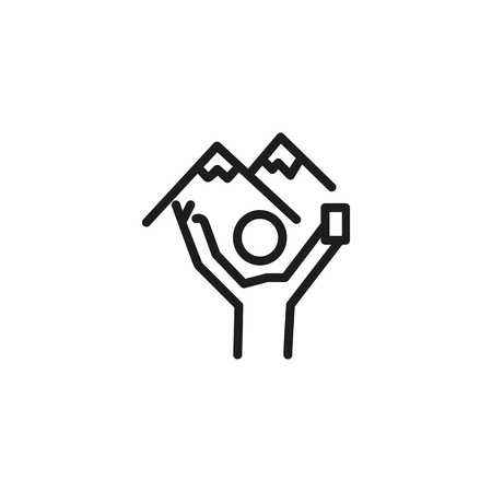 Touristic selfie line icon. Tourist taking selfie against mountain peaks. Tourism concept. Vector illustration can be used for topics like trekking, mountain hiking, adventure