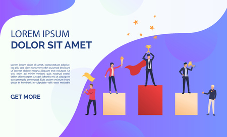 Purple business presentation slide. People standing on podium, people supporting them. Business result concept. Vector illustration can be used for topics like presentation, business, competition Illusztráció
