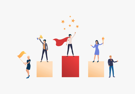 Women success vector illustration. People standing on podium, people supporting them. Business result concept.Vector illustration can be used for topics like competition, achievement, success Vector Illustratie