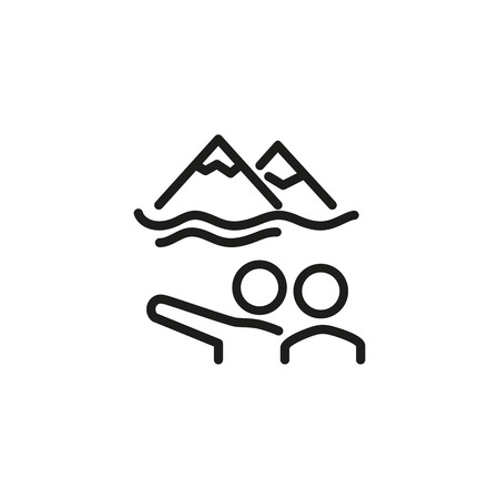 Tourists line icon. Two people pointing at mountain peaks. Tourism concept. Vector illustration can be used for topics like trekking, mountain hiking, adventure travel Vector Illustration