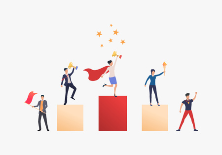 Business achievement vector illustration. People standing on podium, people supporting them. Business result concept.Vector illustration can be used for topics like competition, achievement, success