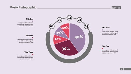 Five sectors pie chart slide template. Business data. Option, report, design. Creative concept for infographic, presentation, report. For topics like research, accounting, analytics.