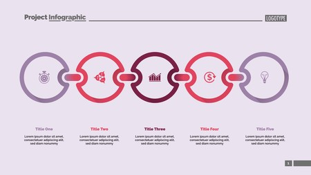 Five steps process chart. Diagram, infographic, slide template. Business concept. Can be used for topics like management, statistics, planning