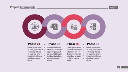 Four phases process template. Business data. Graph, chart, design. Creative concept for infographic, report. Can be used for topics like economics, finances, workflow Stock Illustratie