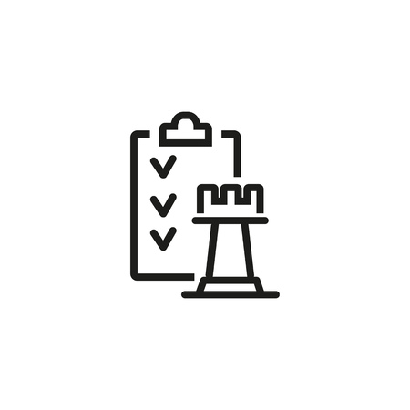 Action list line icon. Plan, strategy, project. Business strategy concept. Vector illustration can be used for topics like business, competition, leisure games Illustration