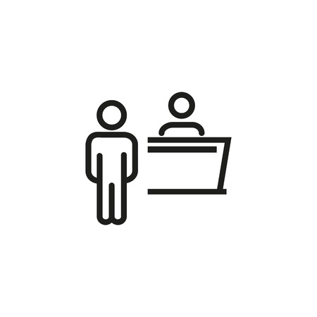 Event reception line icon. Cash register, registration, service desk. Special event concept. Vector illustration can be used for topics like celebration, event, service Ilustracja