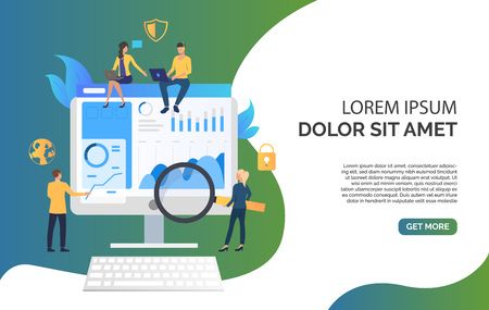 Business team and review on monitor vector illustration. Stock market, research, project. Marketing concept. Creative design for layouts, web pages, banners Reklamní fotografie - 119219619