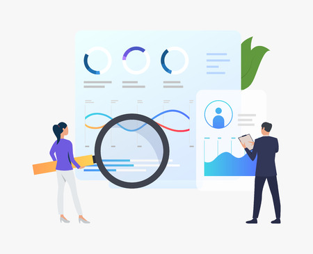 Businesspeople with magnifying glass at annual report vector illustration. Finance, banking, commerce. Marketing concept. Creative design for layouts, web pages, banners Reklamní fotografie - 119219630