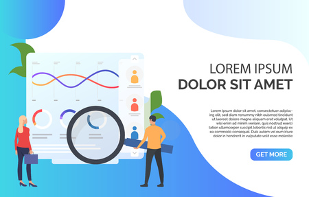 Businesspeople with magnifying glass at chart vector illustration. Balance, audit, bookkeeping. Marketing concept. Creative design for layouts, web pages, banners Vektorgrafik