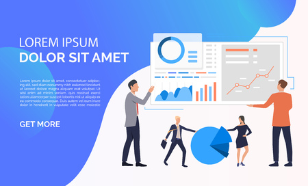 Data analysis blue presentation illustration.People analyze big data. Business result concept. Vector illustration can be used for topics like presentation, business, competition Ilustração