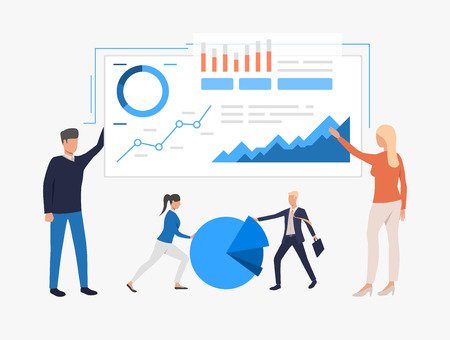 Data analysis illustration. People analyze big data. Business result concept. Vector illustration can be used for topics like presentation, business, competition