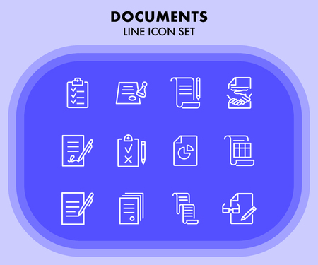 Documents line icon set. Set of line icons on white background. Office concept. Contract, report, clipboard. Vector illustration can be used for topics like office job, meeting, postal Çizim