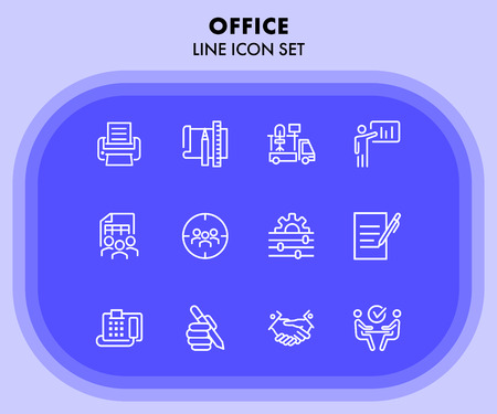 Office line icon set. Printer, presentation, supply. Business concept. Can be used for topics like office equipment, job, personnel management