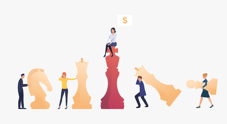 Business competition illustration. Businessman and businesswoman playing chess. Business strategy and planning concept. Vector illustration can be used for topics like business, competition
