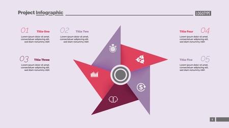 Diagram metafory z pięcioma elementami. Wiatraczek, wykres cyklu, szablon slajdu. Kreatywna koncepcja infografiki, prezentacji, raportu. Może być używany do tematów takich jak biznes, marketing, zarządzanie