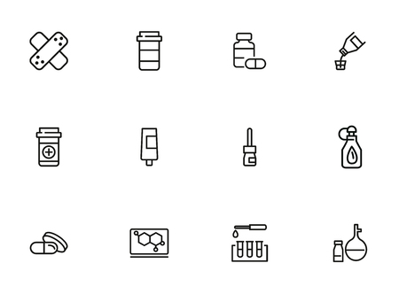 Pharmacological products icon set. Drugstore concept. Vector illustration can be used for topics like apothecary, pharmaceuticals, medicine Vektorové ilustrace