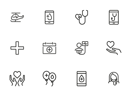 Donation line icon set. Blood, heart, hand, doctor, hospital. Volunteering concept. Can be used for topics like medical help, aid, assistant