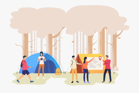 Hikers friends talking and examining map vector illustration. Orienteering, camping, travel. Tourism concept. Design for website templates, posters, banners