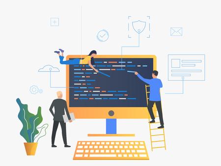 Les informaticiens mettent à niveau l'illustration vectorielle du système d'exploitation. Support informatique, logiciels, programmation. Notion d'ordinateur. Conception de modèles de sites Web, d'affiches, de bannières Vecteurs