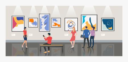 Hommes et femmes visitant l'illustration vectorielle d'un musée ou d'une galerie d'art. Art moderne, exposition, culture. Notion d'œuvres d'art. Conception de modèles de sites Web, d'affiches, de bannières Vecteurs