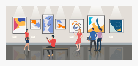 Men and women visiting museum or art gallery vector illustration. Modern art, exhibition, culture. Artworks concept. Design for website templates, posters, banners Stock Illustratie