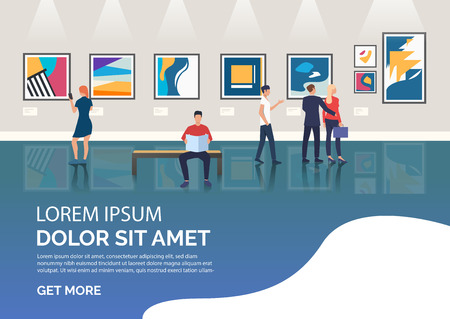 Slide page with people visiting art gallery vector illustration. Art, museum, exhibition. Artworks concept. Design for website templates, posters, presentations