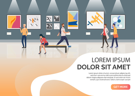 Slide page with visitors of exhibition vector illustration. Museum, leisure, modern art. Artworks concept. Design for website templates, posters, presentations