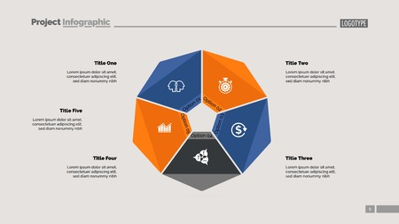 Cycle diagram with five options. Option chart, segments, slide template. Creative concept for infographics, presentation, project, report. Can be used for topics like business, startup, investment