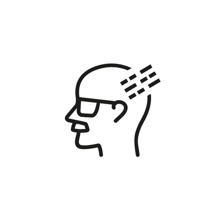 Vanishing memory line icon. Sclerosis, aging, mental health. Alzheimer concept. Vector illustration can be used for topics like mental disease, psychology, medicine