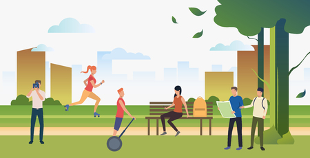 People doing sports and relaxing in summer city park. Relaxation, activity, lifestyle concept. Can be used for topics like summer, leisure, nature