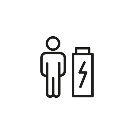 Fatigue line icon. Exhaustion, burnout, weakness. Mental health concept. Vector illustration can be used for topics like emotions, psychology, health