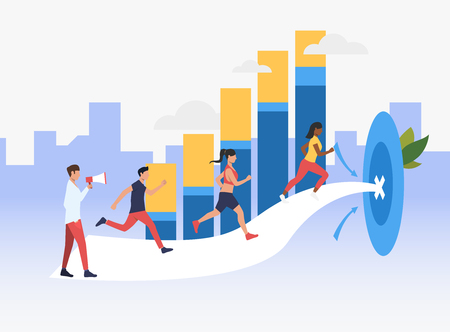 Sporty people running to target with bar chart in background. Goal, motivation, growth, success concept. Can be used for topics like sport, finance, business Çizim
