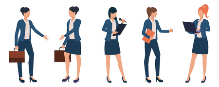 Collection of businesswomen at conference or presentation. Confident young female entrepreneurs in formal wear. Vector illustration can be used for business training, advertisement, seminar Vettoriali