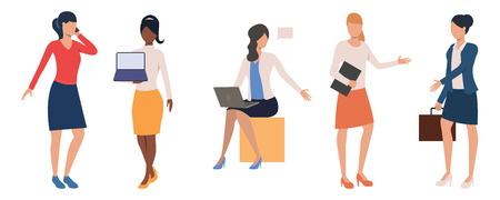 Collection of businesswomen with various devices. Female entrepreneurs with laptops, smartphone and briefcase. Vector illustration can be used for presentation, business project, marketing plan Illustration