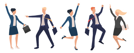 Collection of happy business executives dancing. Group of cheerful entrepreneurs celebrating success. Vector illustration for commercial, business training, presentation