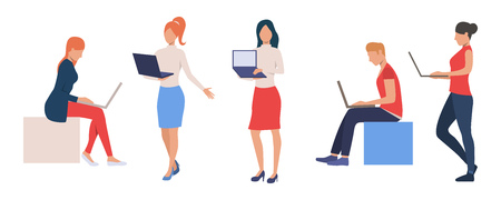 Collection of young entrepreneurs working on laptops. Group of business people working on computers. Colorful vector illustration for presentation, poster, new project