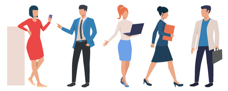 Set of business people executives in formal clothing. Group of cartoon characters working in office. Vector illustration can be used for presentation, motivational project, podcast cover