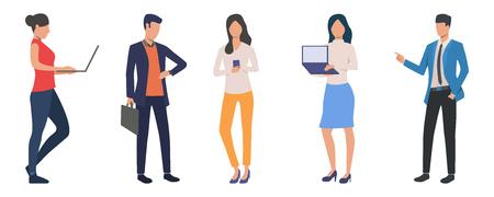 Conjunto de gente de negocios moderna en el trabajo. Grupo de hombres y mujeres seguros que usan dispositivos y realizan presentaciones. La ilustración del vector se puede utilizar para el espíritu empresarial, el trabajo, la carrera Ilustración de vector