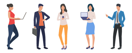 Set of modern business people at work. Group of confident men and women using devices and holding presentations. Vector illustration can be used for entrepreneurship, job, career