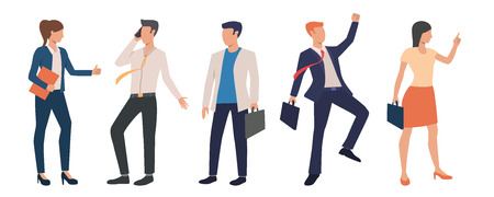 Set of successful business executives. Group of excited business people concluding deals and celebrating success. Vector illustration can be used for leadership, advertisement, staff