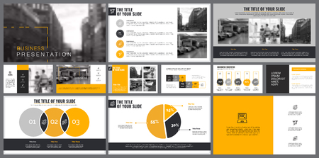 Yellow, white and black infographic design elements for presentation slide templates. Business and startup concept can be used for corporate report, advertising, brochure layout and banner design.