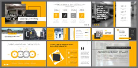 Plantilla de diapositivas grises, blancas y amarillas para presentación e informes. El concepto de negocio y planificación se puede utilizar para diseño infográfico, diseño corporativo, banner publicitario Ilustración de vector