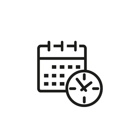 Calendar line icon. Office work, every day, hurry up. Time concept. Vector illustration can be used for topics like time management, work life, daily routine