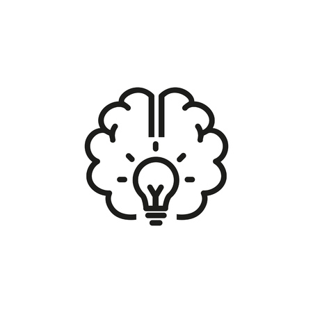 Good idea line icon. Brain, power, energy. Brainstorming concept. Vector illustration can be used for topics like science, development, research Çizim