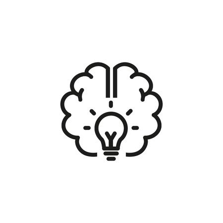 Icono de línea de buena idea. Cerebro, poder, energía. Concepto de lluvia de ideas. La ilustración vectorial se puede utilizar para temas como ciencia, desarrollo, investigación.