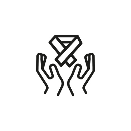 Hospice line icon. Human hands holding awareness ribbon. Volunteering concept. Vector illustration can be used for hospice care, caregiving, elderly people support