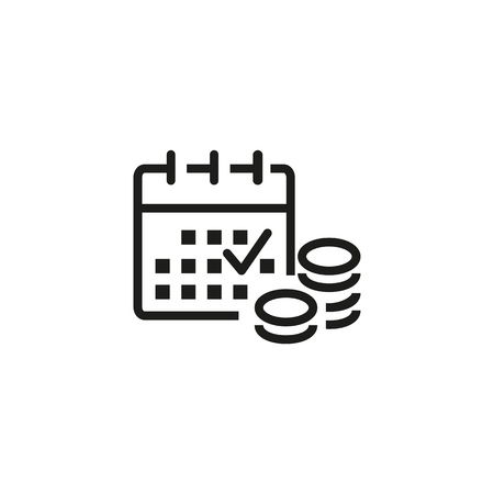 Marginal income line icon. Calendar with checkmark, money, cash. Vector illustration can be used for schedule, salary, day, date