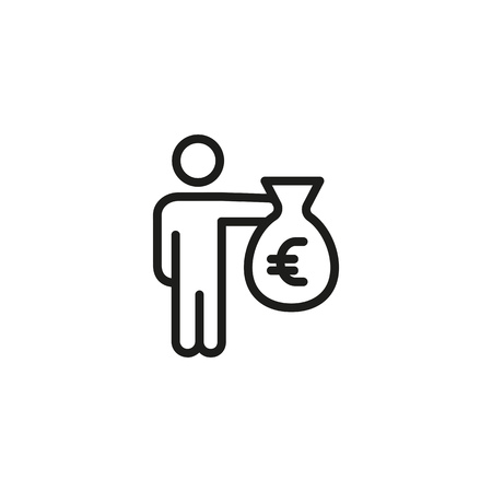 Money donation line icon. Man holding o giving bag of cash. Volunteering concept. Vector illustration can be used for charity, contribution, investment